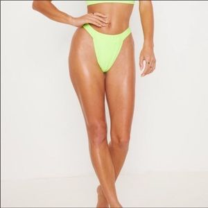 PrettyLittleThing Lime High Leg  Bikini Bottom